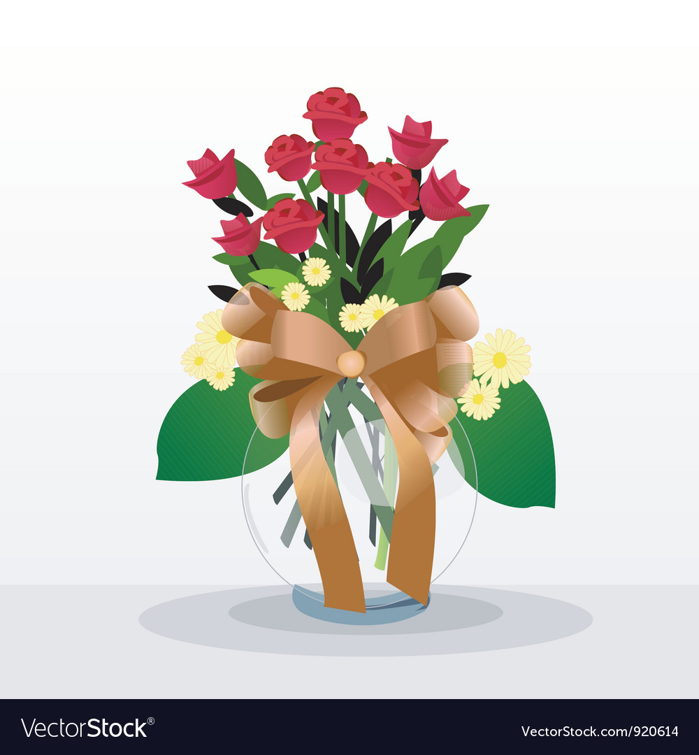 Flowers in vase vector | Price: 1 Credit (USD $1)