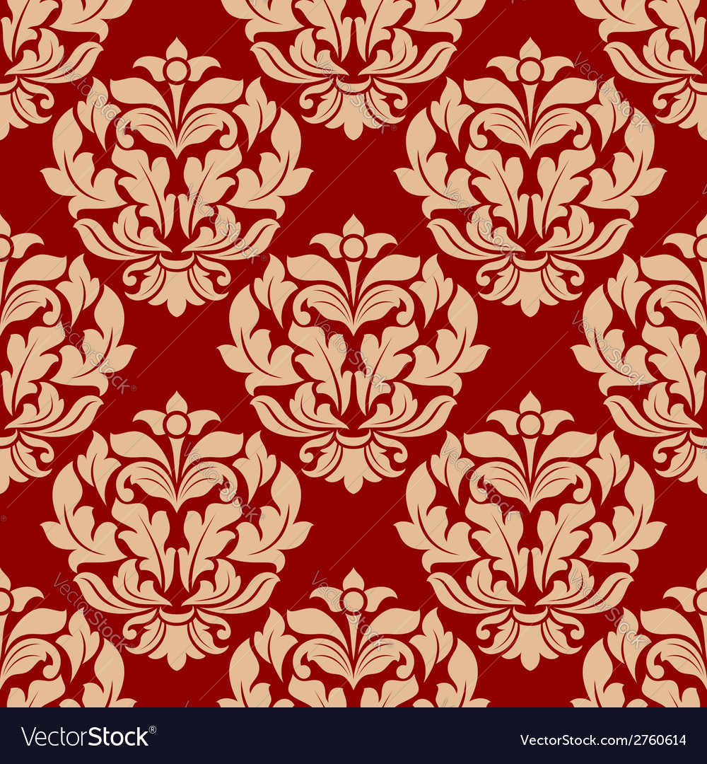 Retro beige floral seamless pattern vector | Price: 1 Credit (USD $1)