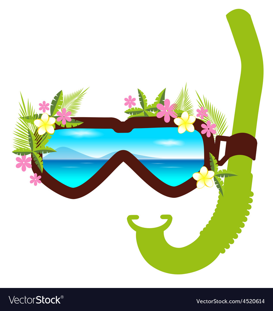 Snorkel with flowers summer concept vector   Price: 1 Credit (USD $1)