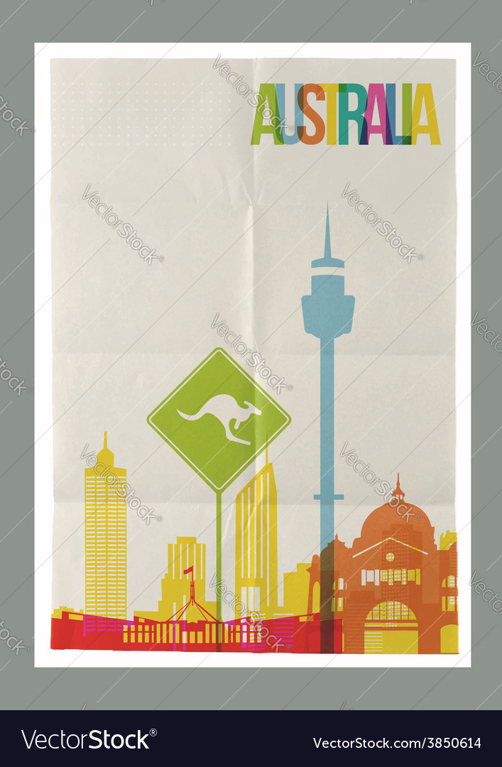Travel australia landmarks skyline vintage poster vector | Price: 1 Credit (USD $1)