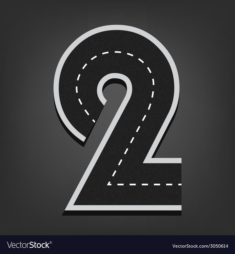 Two number road font vector | Price: 1 Credit (USD $1)