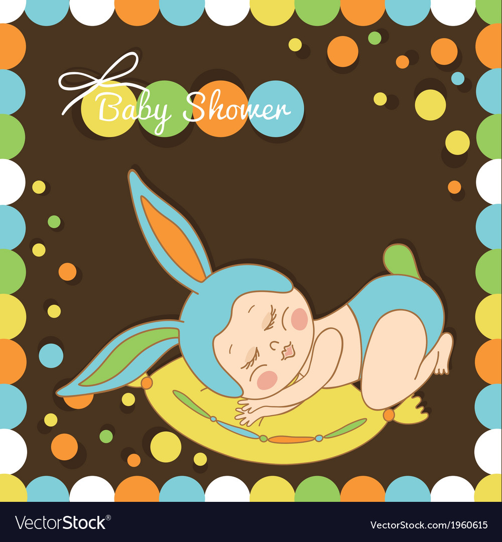 Card with the birth of a child in bunny costume vector | Price: 1 Credit (USD $1)