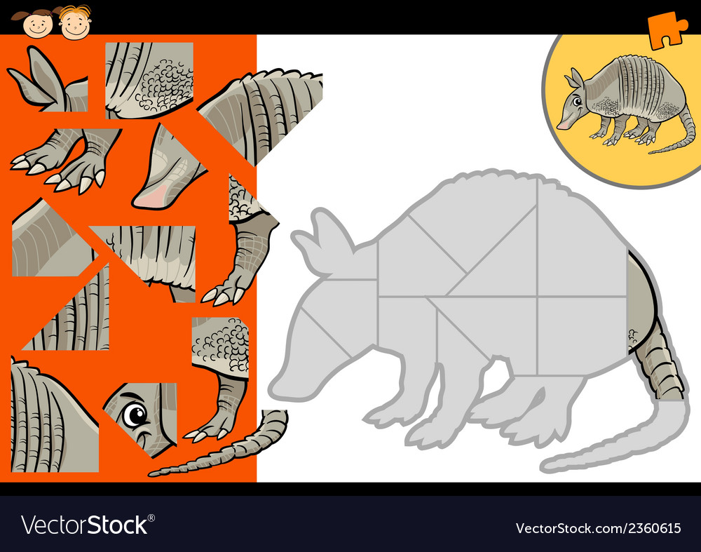 Cartoon armadillo jigsaw puzzle game vector | Price: 1 Credit (USD $1)