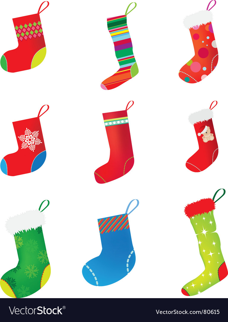 Christmas stocking set vector | Price: 1 Credit (USD $1)