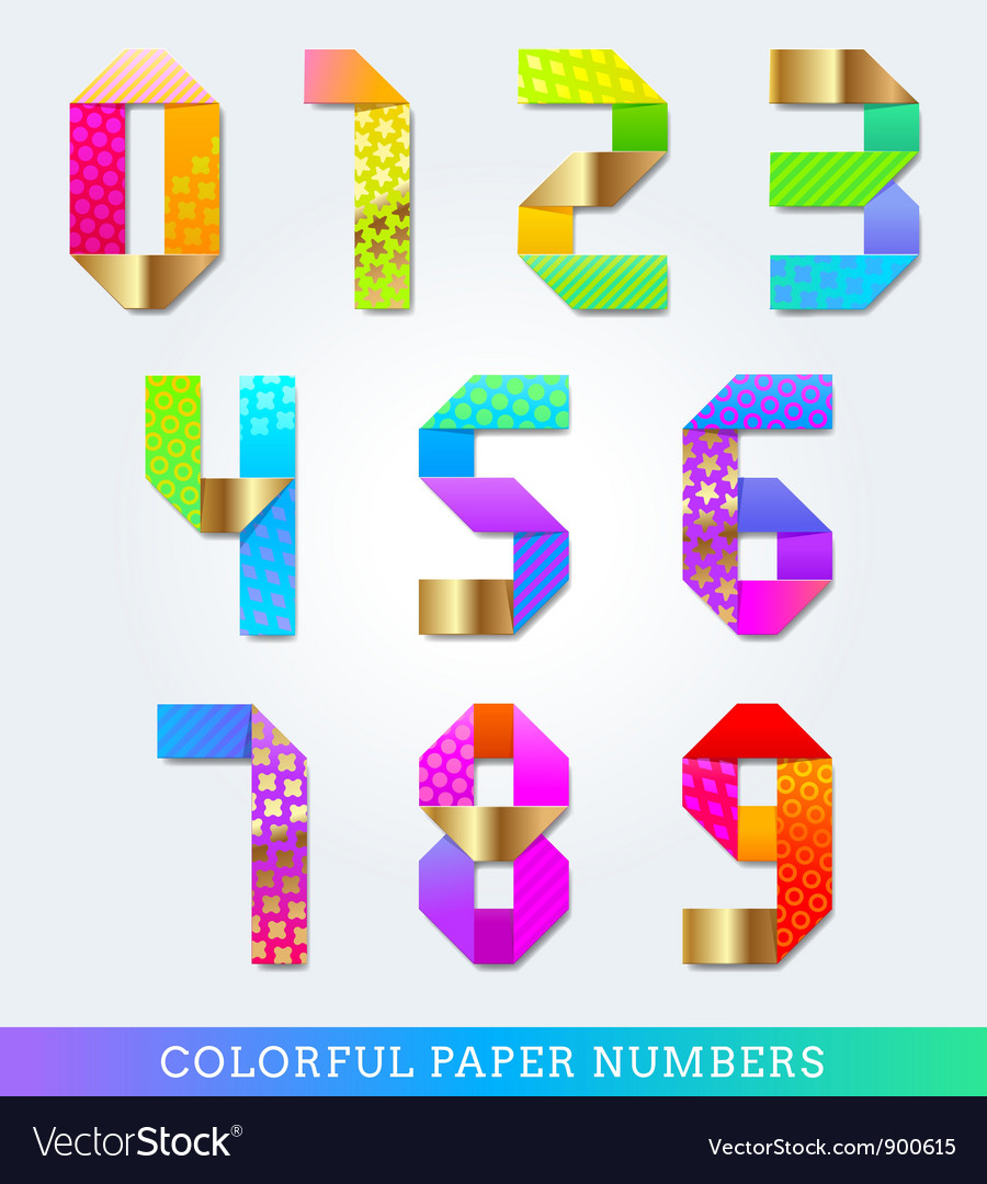 Colorful decorative paper numbers vector | Price: 1 Credit (USD $1)