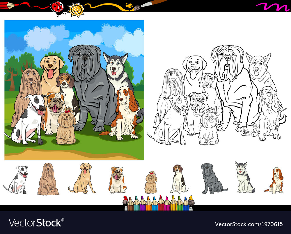 Dog breeds cartoon coloring page set vector | Price: 1 Credit (USD $1)