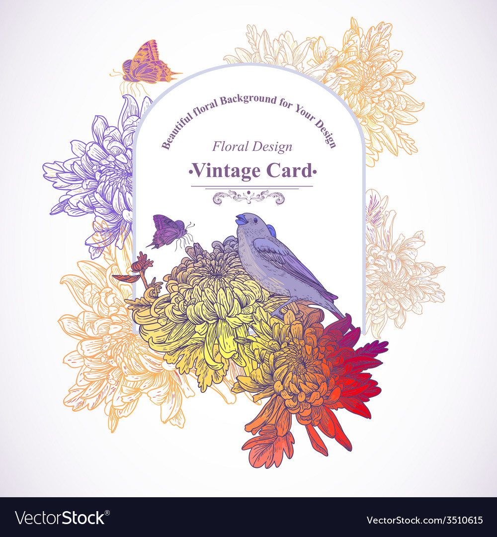 Floral greeting card with birds vector | Price: 1 Credit (USD $1)