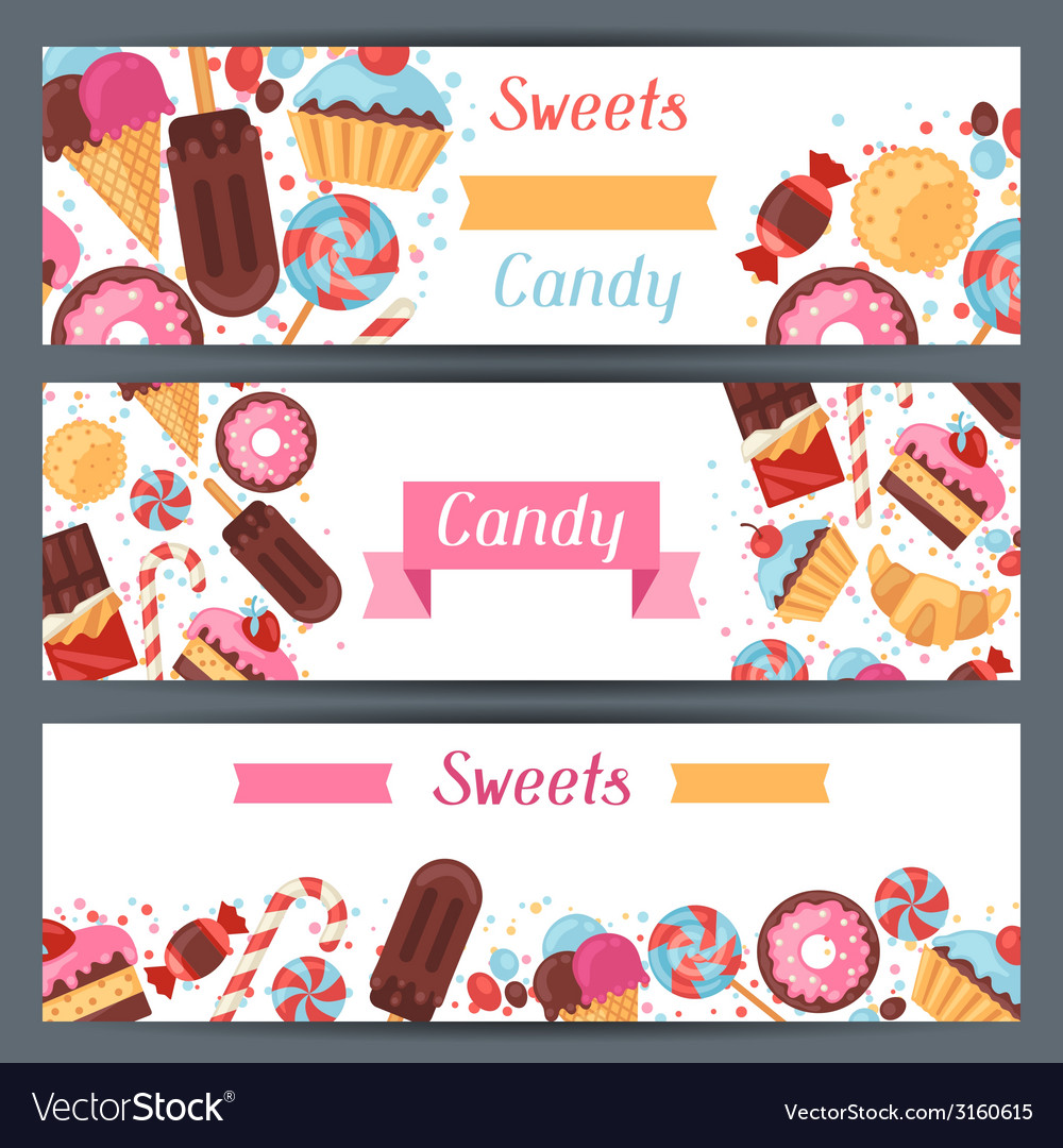 Horizontal banners with colorful candy sweets and vector | Price: 1 Credit (USD $1)