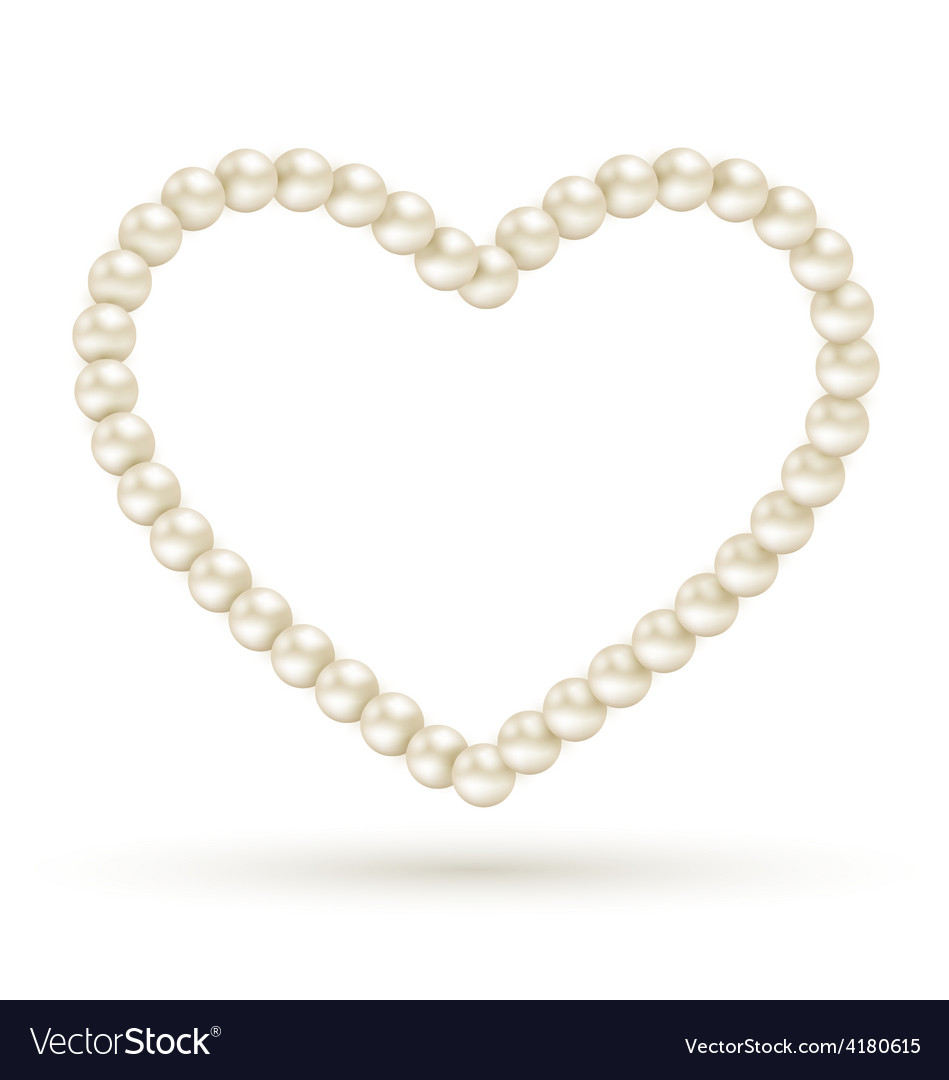 Pearl heart like frame isolated on white vector   Price: 1 Credit (USD $1)