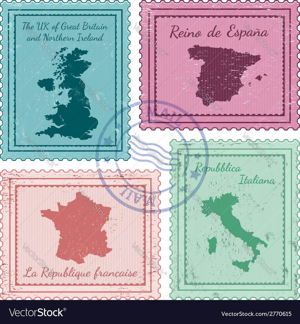 Postal stamps 2 vector | Price: 1 Credit (USD $1)