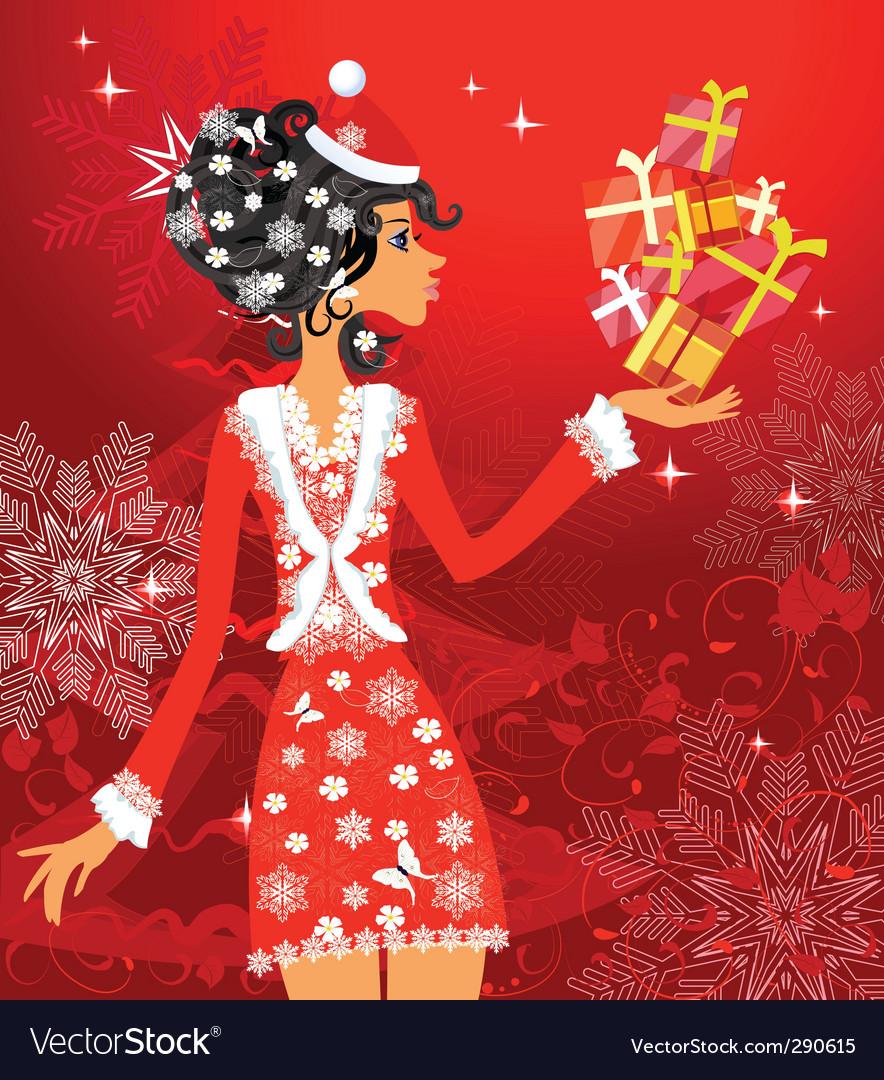 Santa girl with presents vector | Price: 1 Credit (USD $1)