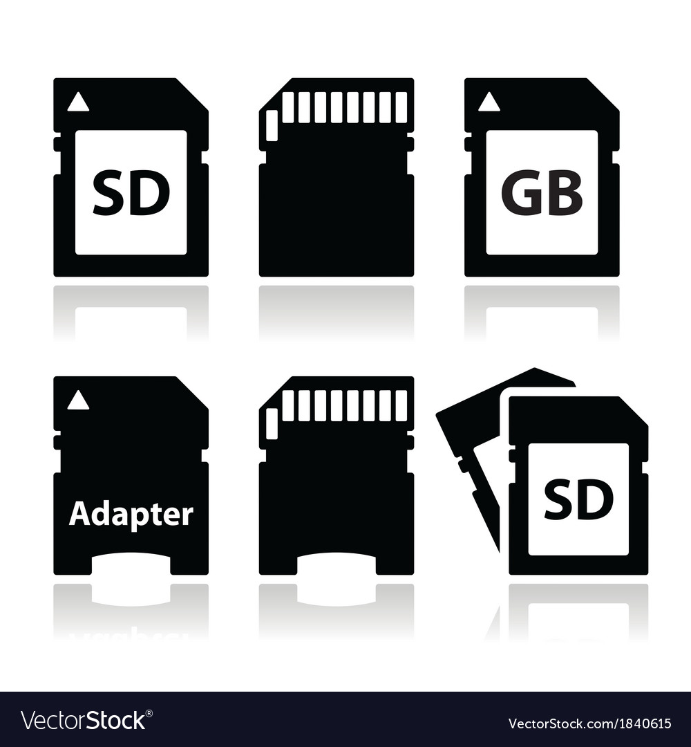 Sd memory card adapter icons set vector | Price: 1 Credit (USD $1)