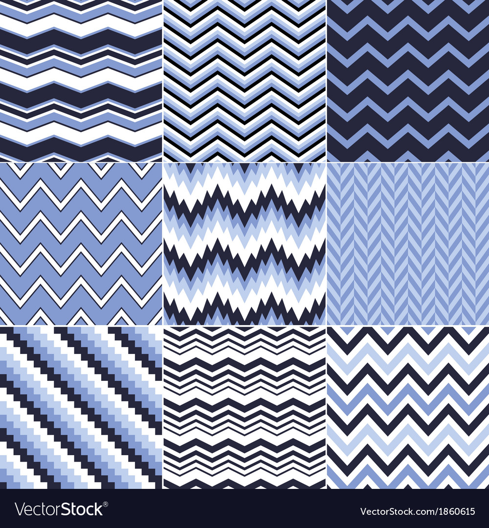 Seamless blue zig zag set vector | Price: 1 Credit (USD $1)