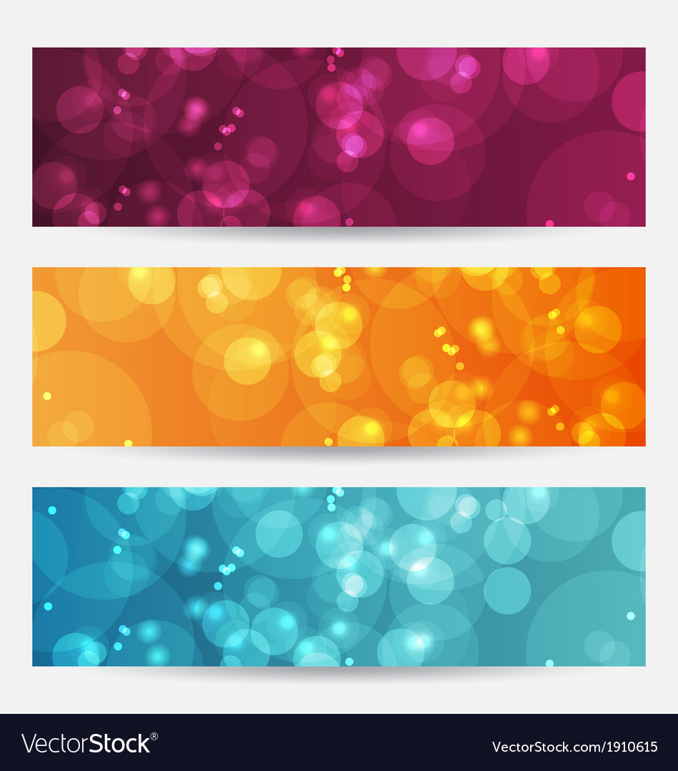 Set of abstract banners with bokeh effect vector | Price: 1 Credit (USD $1)
