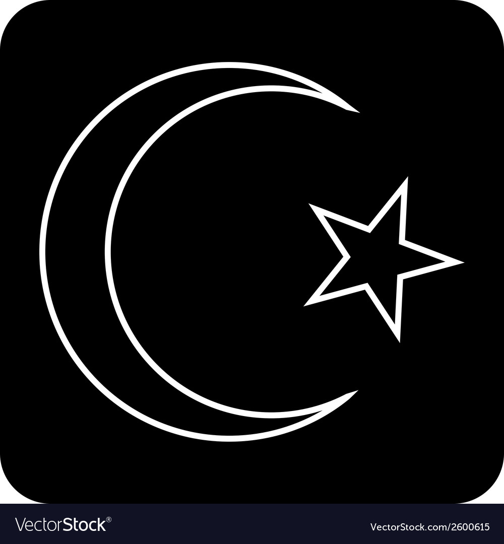 Star and crescent button vector | Price: 1 Credit (USD $1)