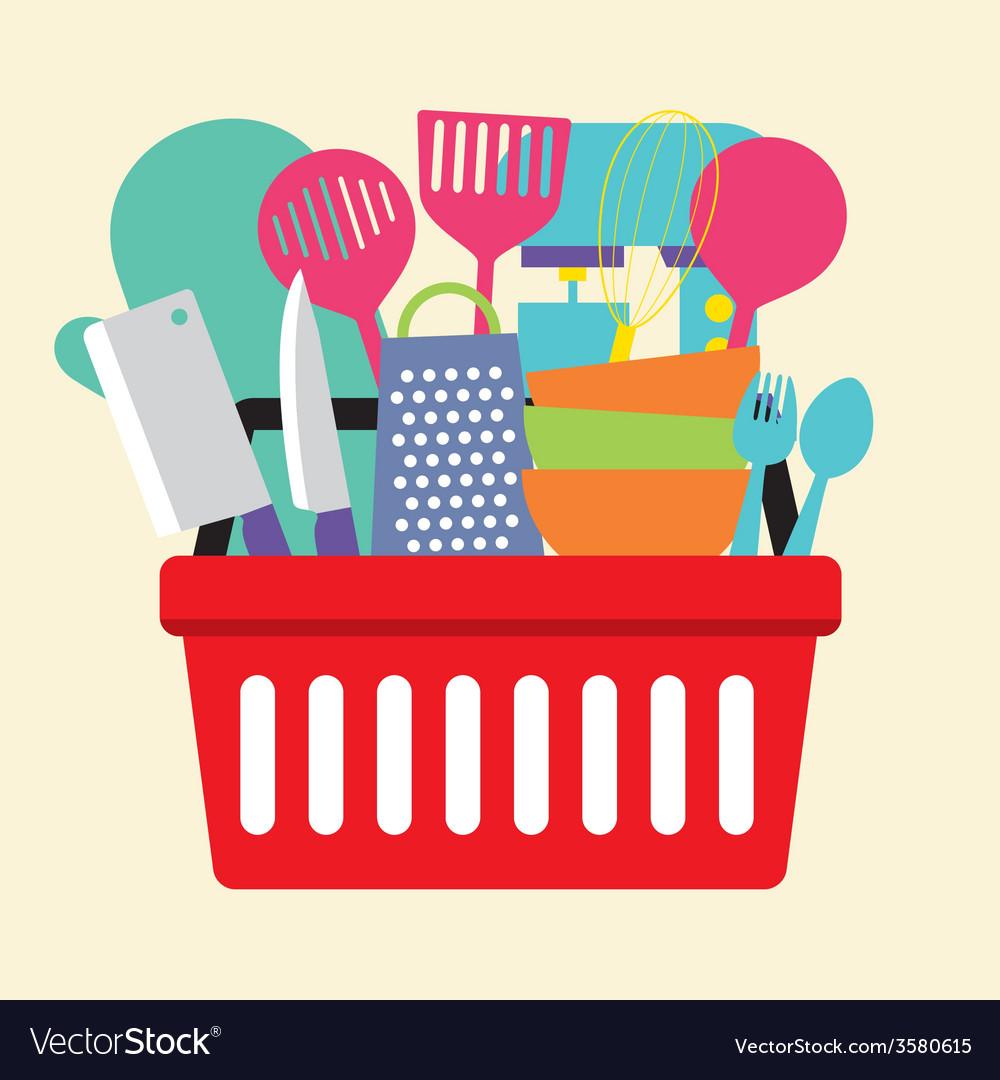 Utensil in shopping basket vector   Price: 1 Credit (USD $1)