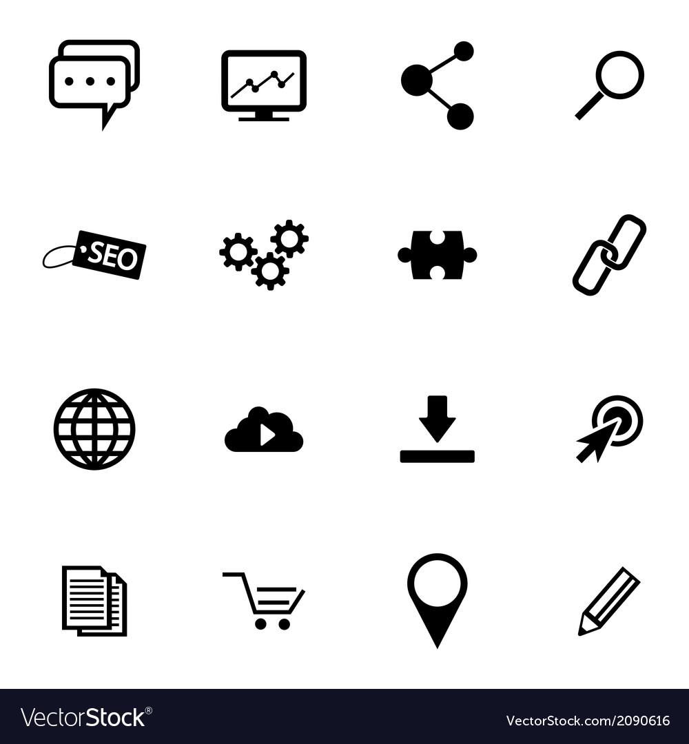 Black seo icons set vector | Price: 1 Credit (USD $1)