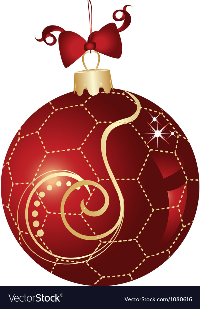 Christmas ball red and gold design vector