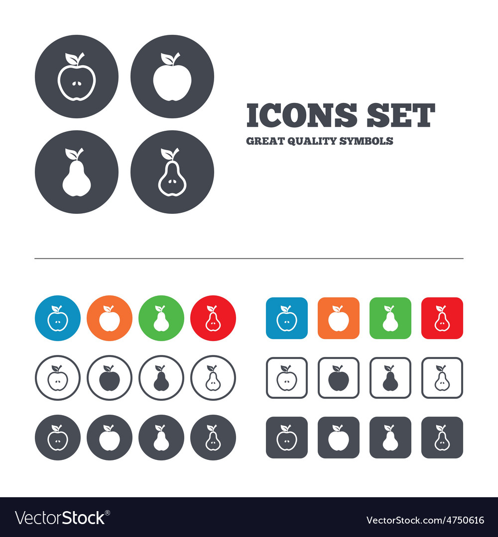 Fruits with leaf icons apple and pear vector | Price: 1 Credit (USD $1)