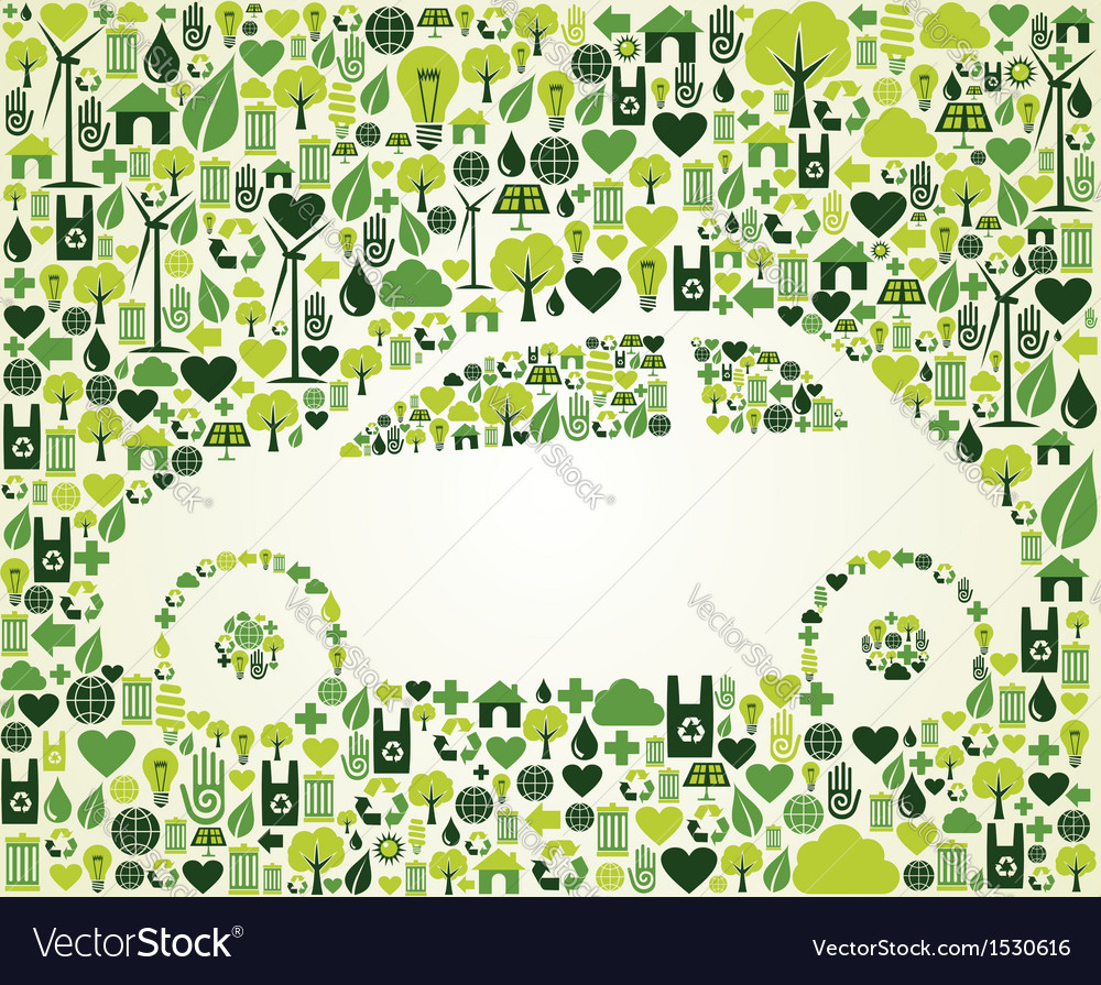 Green car with eco icons set vector | Price: 1 Credit (USD $1)