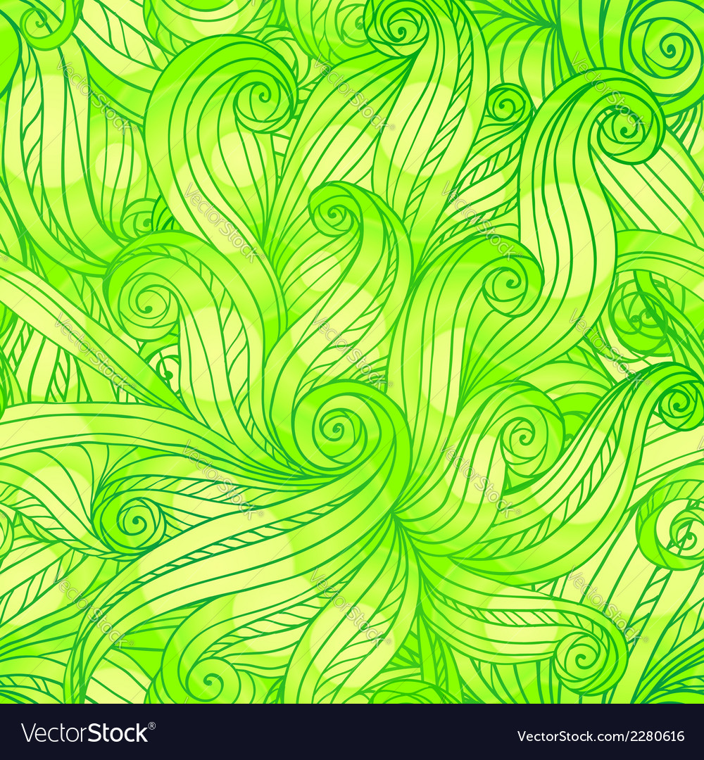 Green doodle abstract seamless pattern vector | Price: 1 Credit (USD $1)