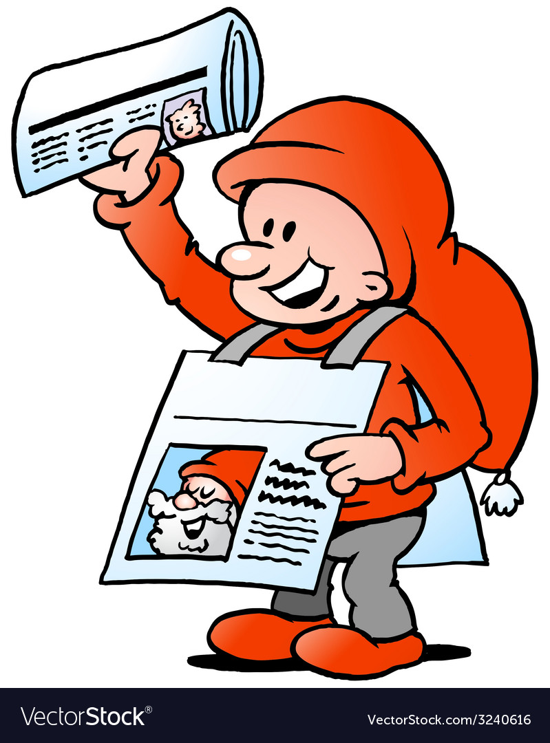 Hand-drawn of an happy christmas elf with news vector | Price: 1 Credit (USD $1)