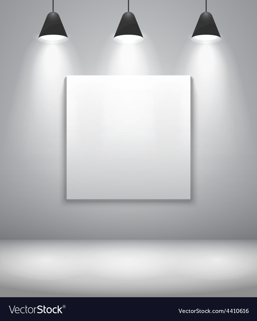 White gallery interior with frame vector   Price: 1 Credit (USD $1)