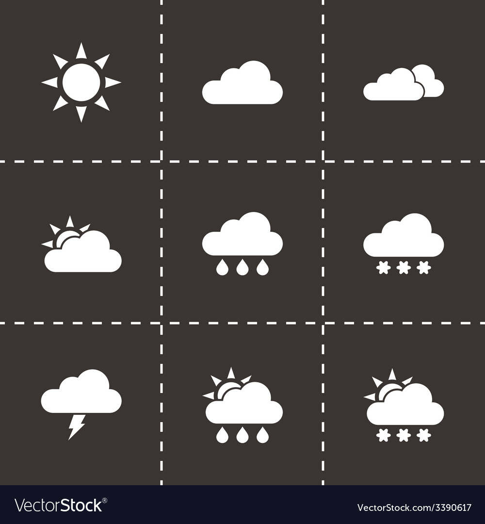 Black weather icon set vector | Price: 1 Credit (USD $1)