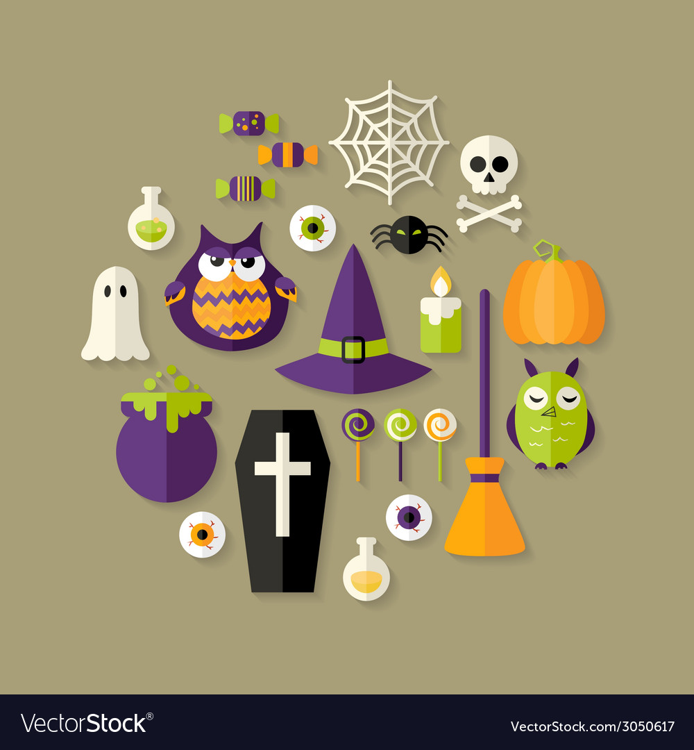 Halloween witch flat icons set vector | Price: 1 Credit (USD $1)