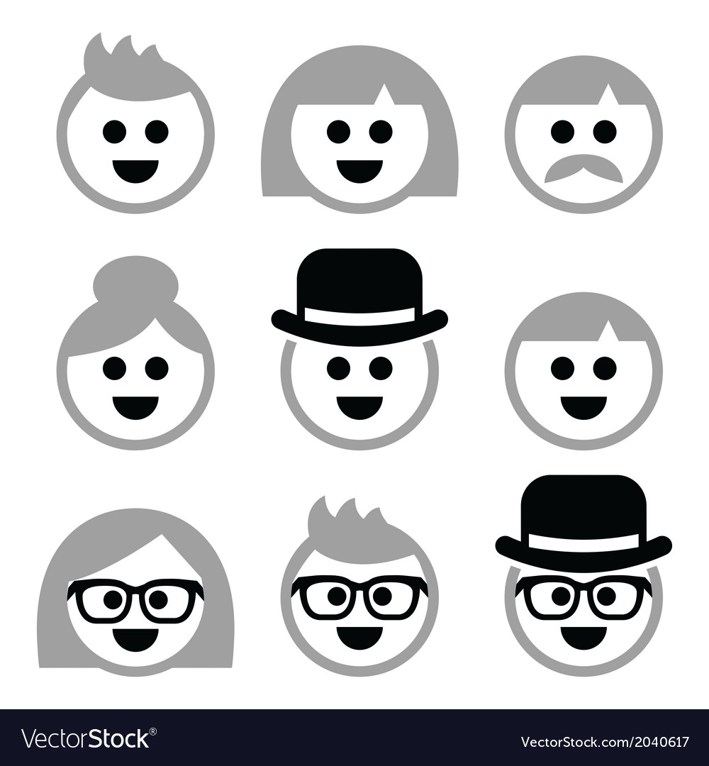 People with grey hair seniors old people icons vector | Price: 1 Credit (USD $1)