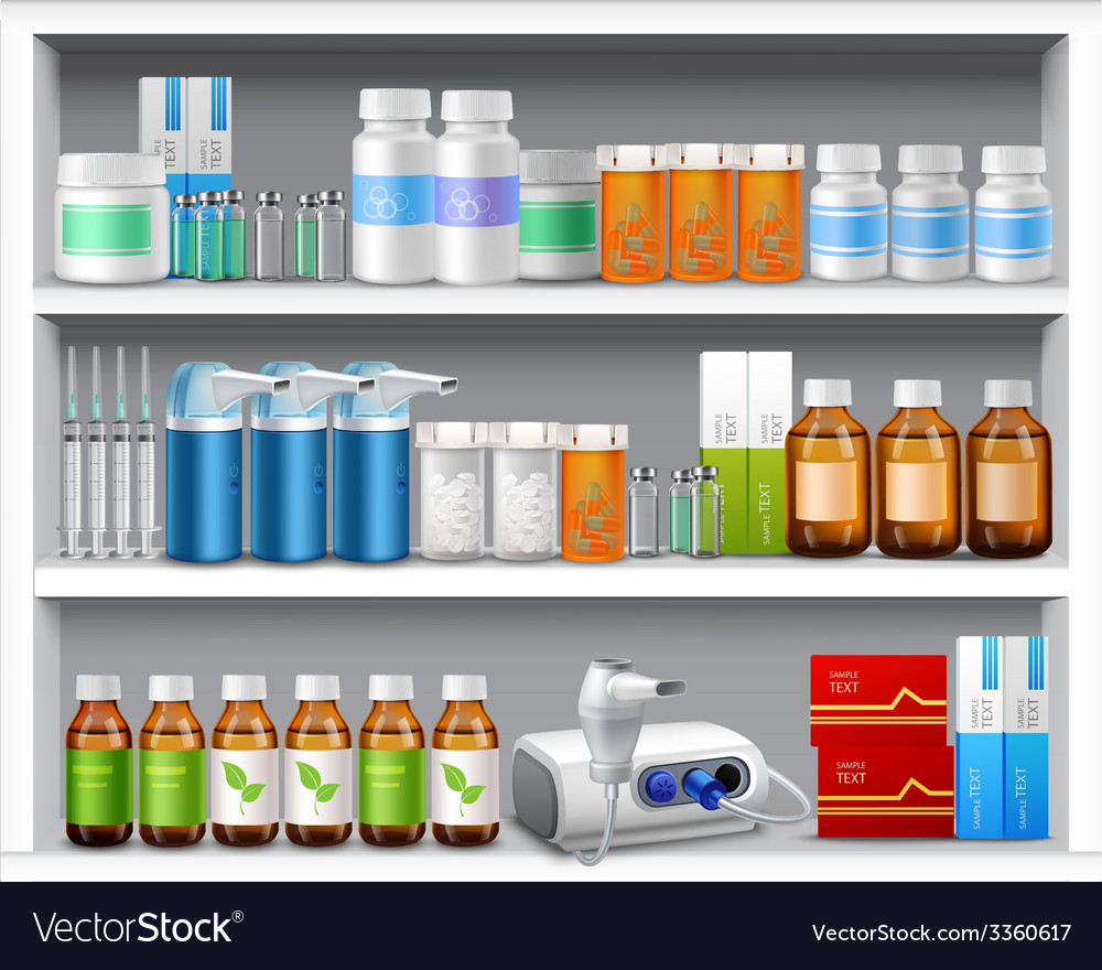 Pharmacy shelves realistic vector | Price: 1 Credit (USD $1)