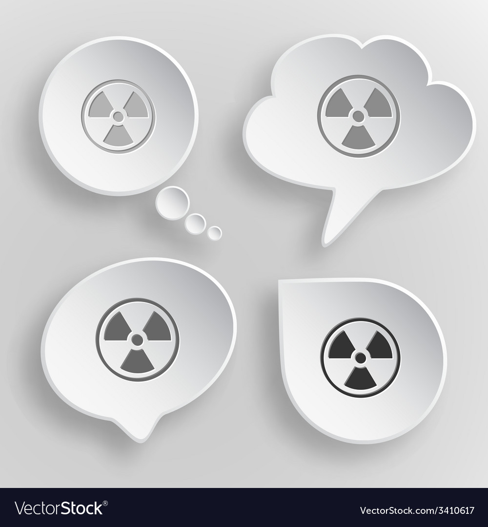 Radiation symbol white flat buttons on gray vector | Price: 1 Credit (USD $1)