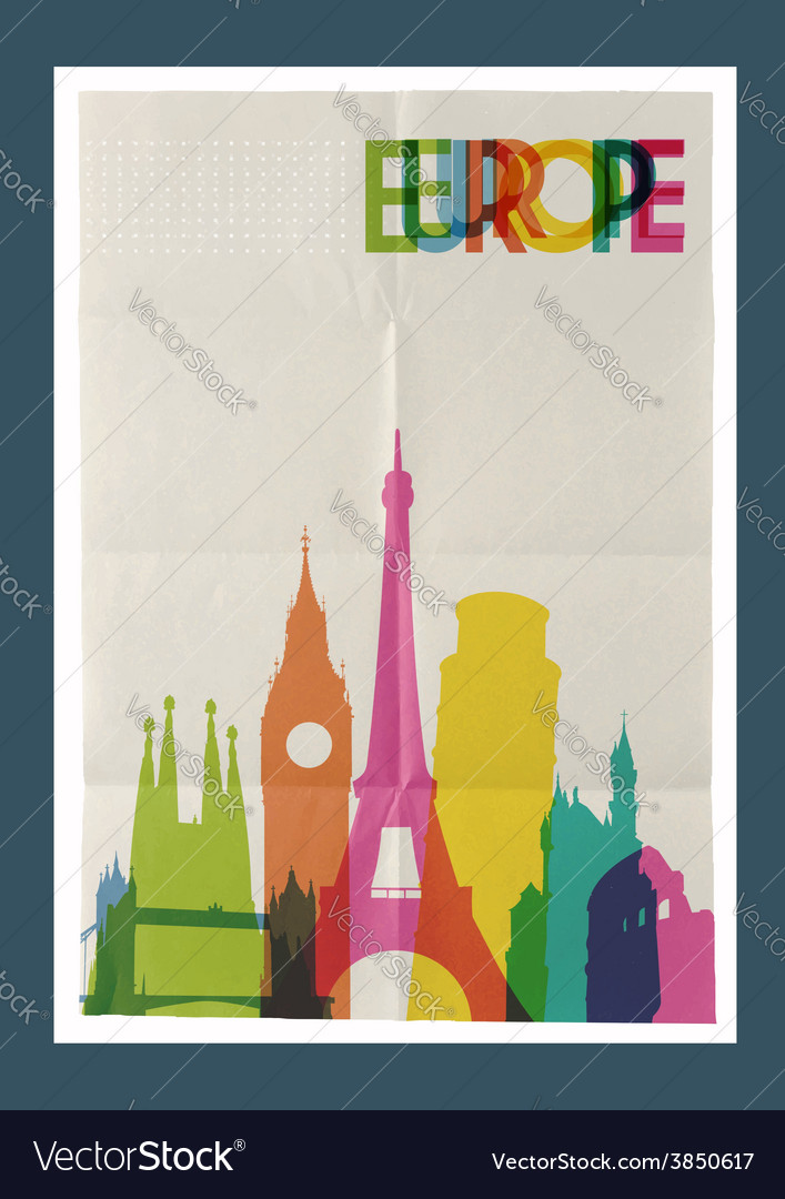 Travel europe landmarks skyline vintage poster vector | Price: 1 Credit (USD $1)