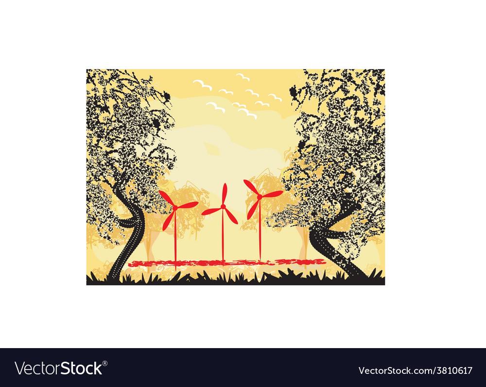 Wind turbine on sundown vector | Price: 1 Credit (USD $1)