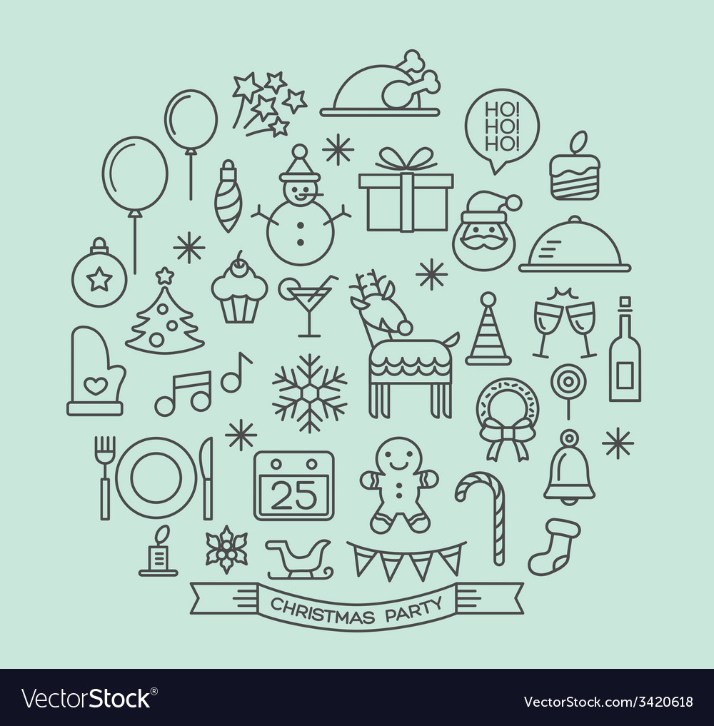 Christmas party elements outline icons set vector | Price: 1 Credit (USD $1)