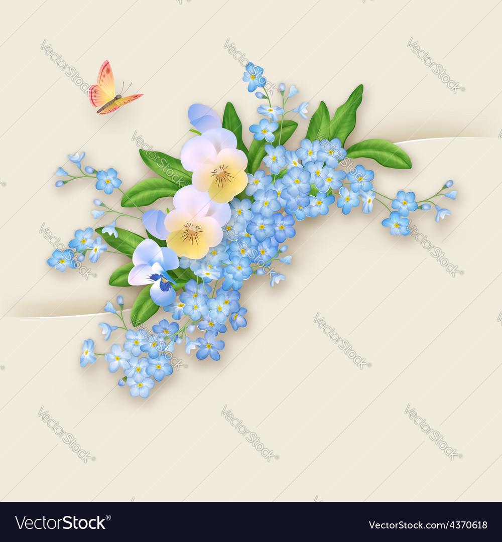 Flowers forgetmenot greeting card vector