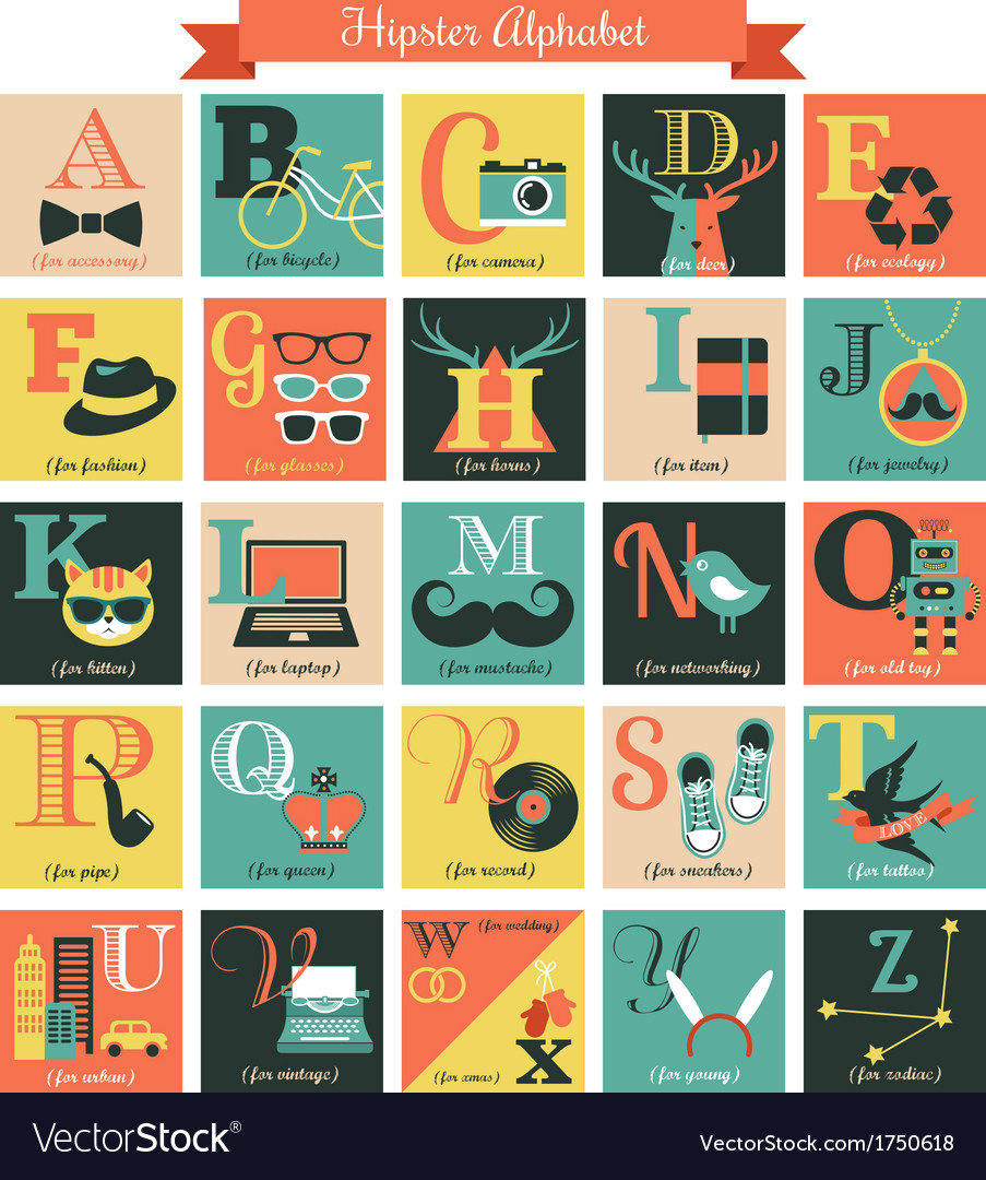 Hipster alphabet concept background with icons vector | Price: 1 Credit (USD $1)