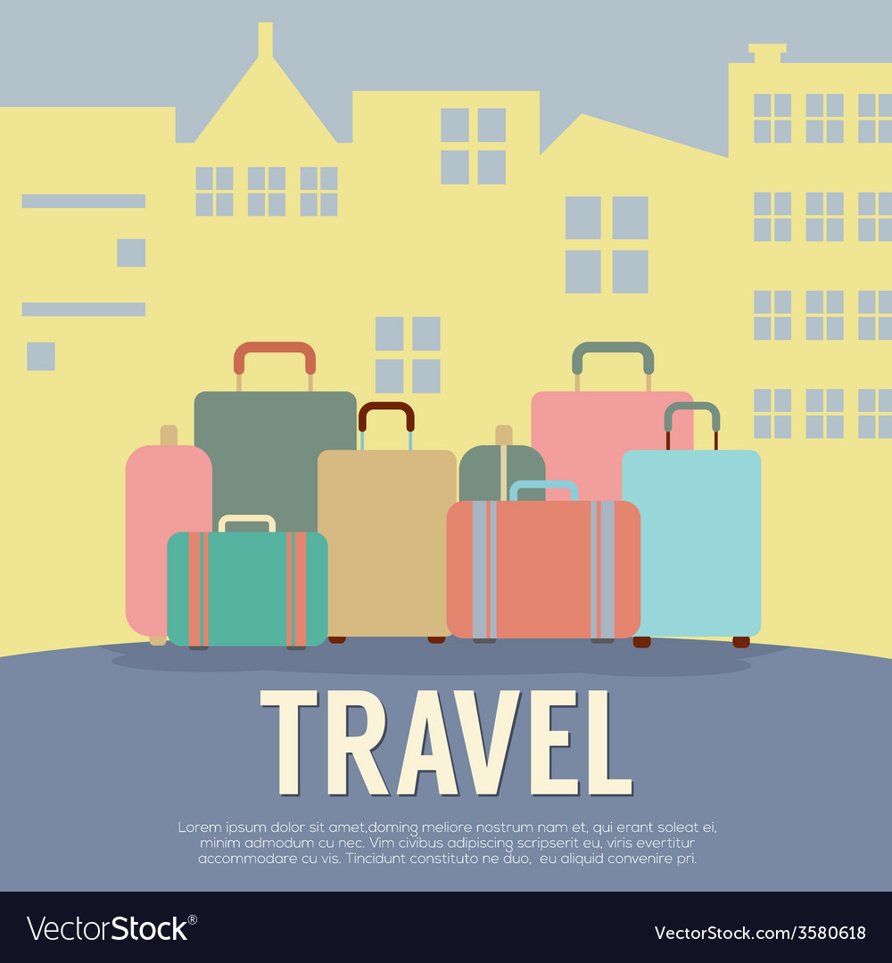 Many luggage in front of building travel concept vector | Price: 1 Credit (USD $1)