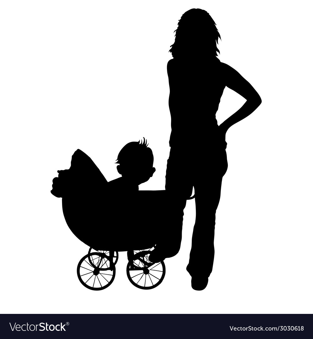 Mother and baby in the pram vector | Price: 1 Credit (USD $1)