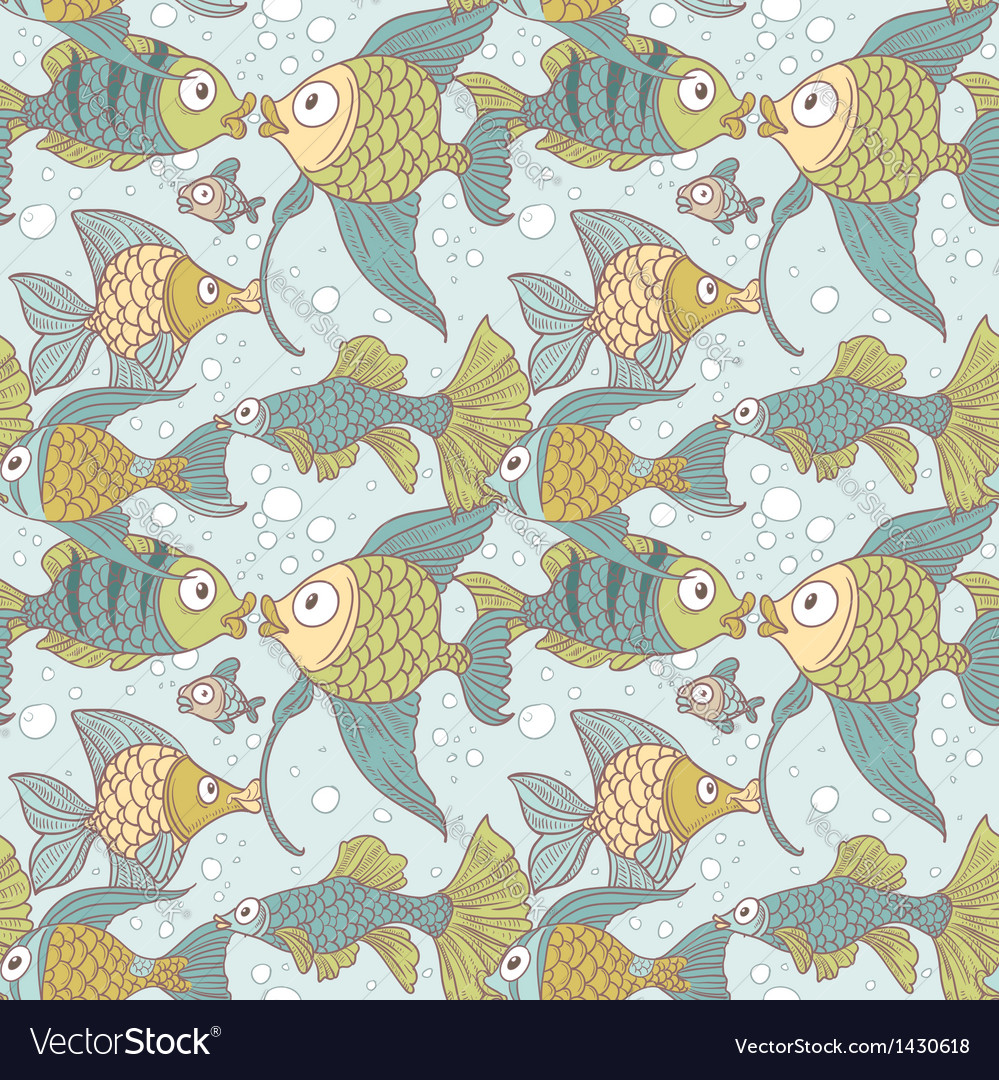 Seamless vintage ornament variety of fish vector | Price: 1 Credit (USD $1)