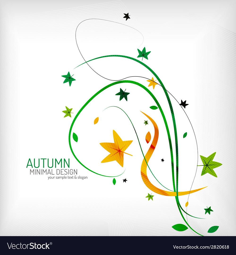 Seasonal autumn greeting card minimal design vector | Price: 1 Credit (USD $1)