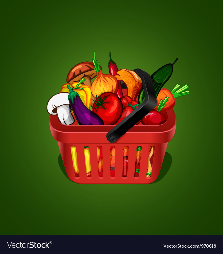 Shopping basket with bunch of vegetables vector | Price: 3 Credit (USD $3)