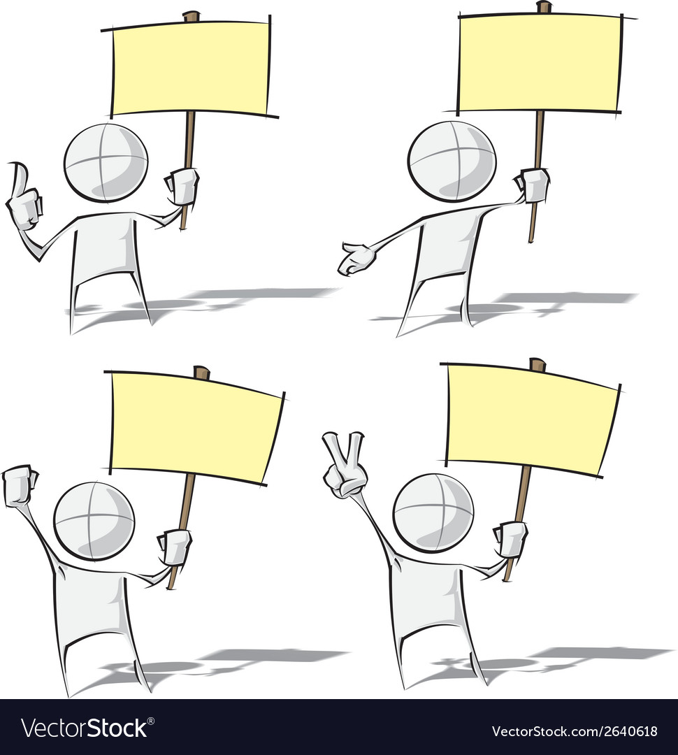 Simple people holding a placard vector   Price: 1 Credit (USD $1)