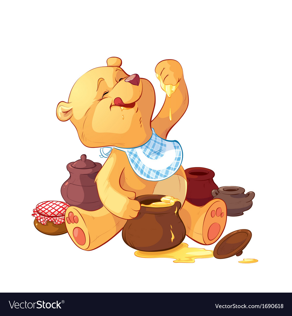 Teddy bear with a pot of honey vector | Price: 1 Credit (USD $1)