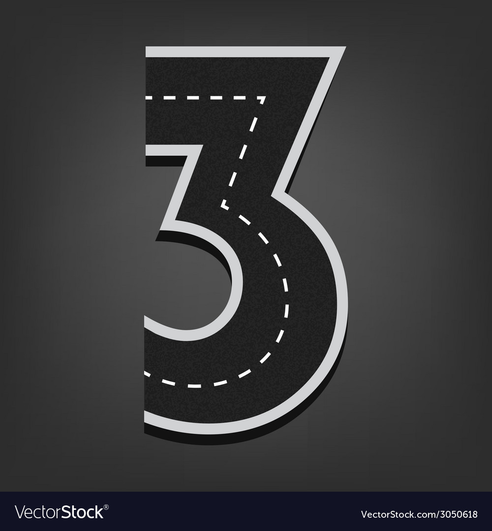 Three number road font vector | Price: 1 Credit (USD $1)