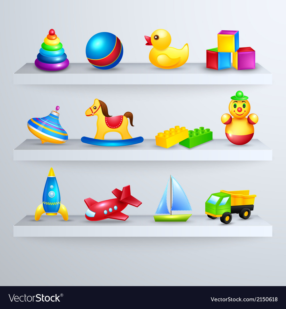 Toys icons shelf vector | Price: 1 Credit (USD $1)