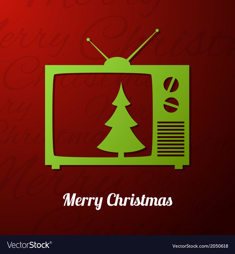 Tv set applique background with christmas tree vector   Price: 1 Credit (USD $1)