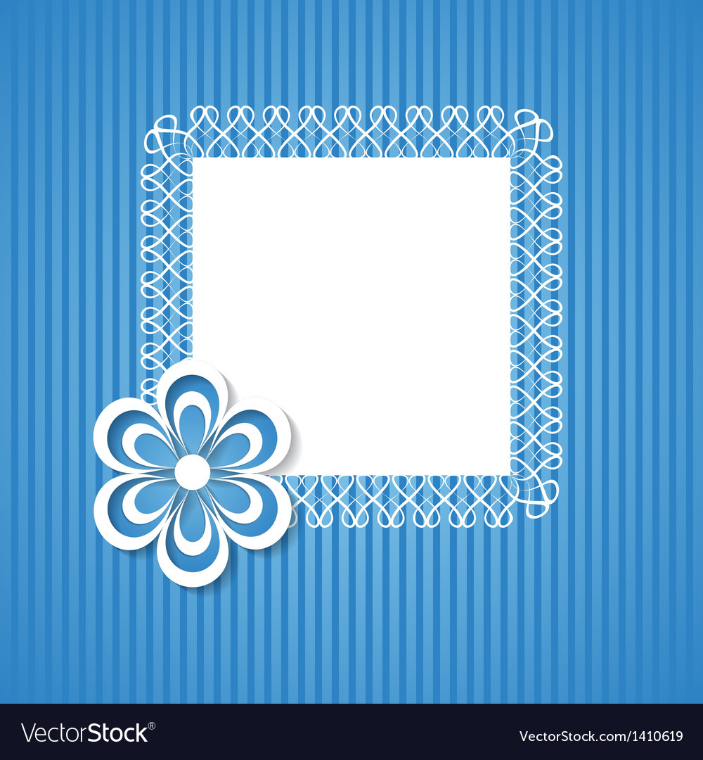 Blue background with a frame and a paper flower vector | Price: 1 Credit (USD $1)