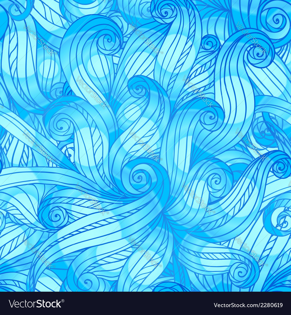 Blue curls seamless pattern vector | Price: 1 Credit (USD $1)