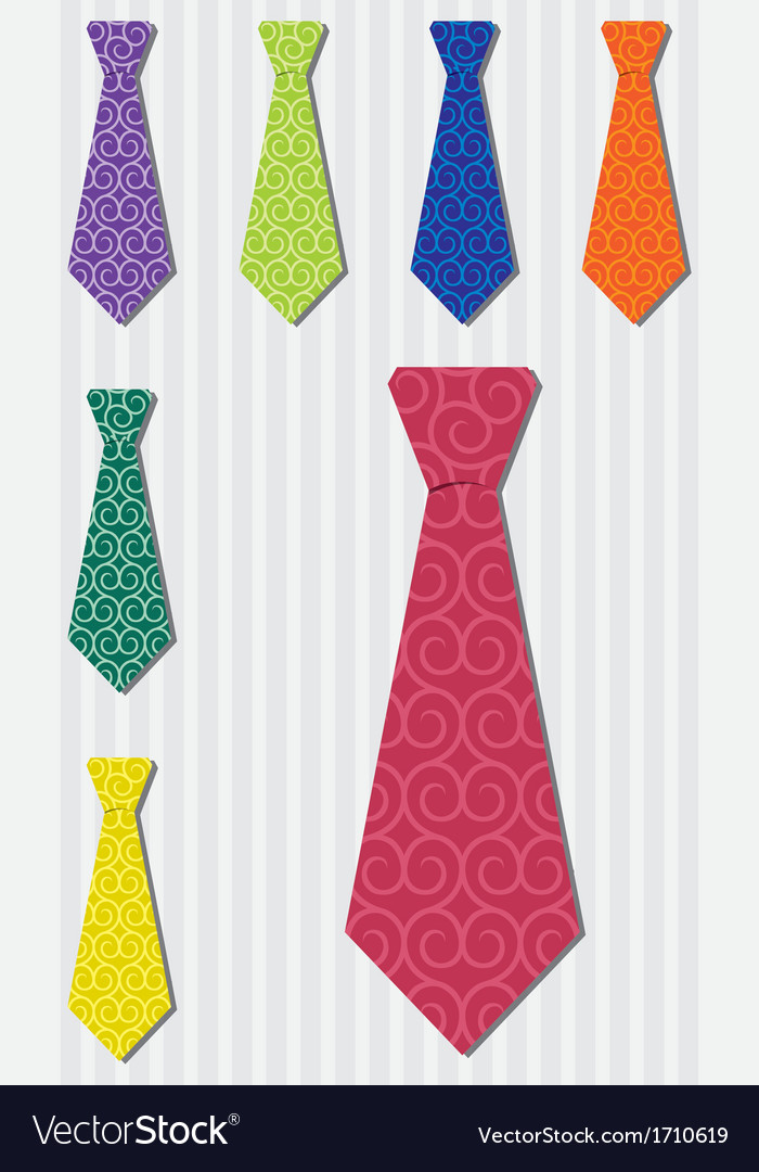 Bright heart silk tie stickers in format vector | Price: 1 Credit (USD $1)